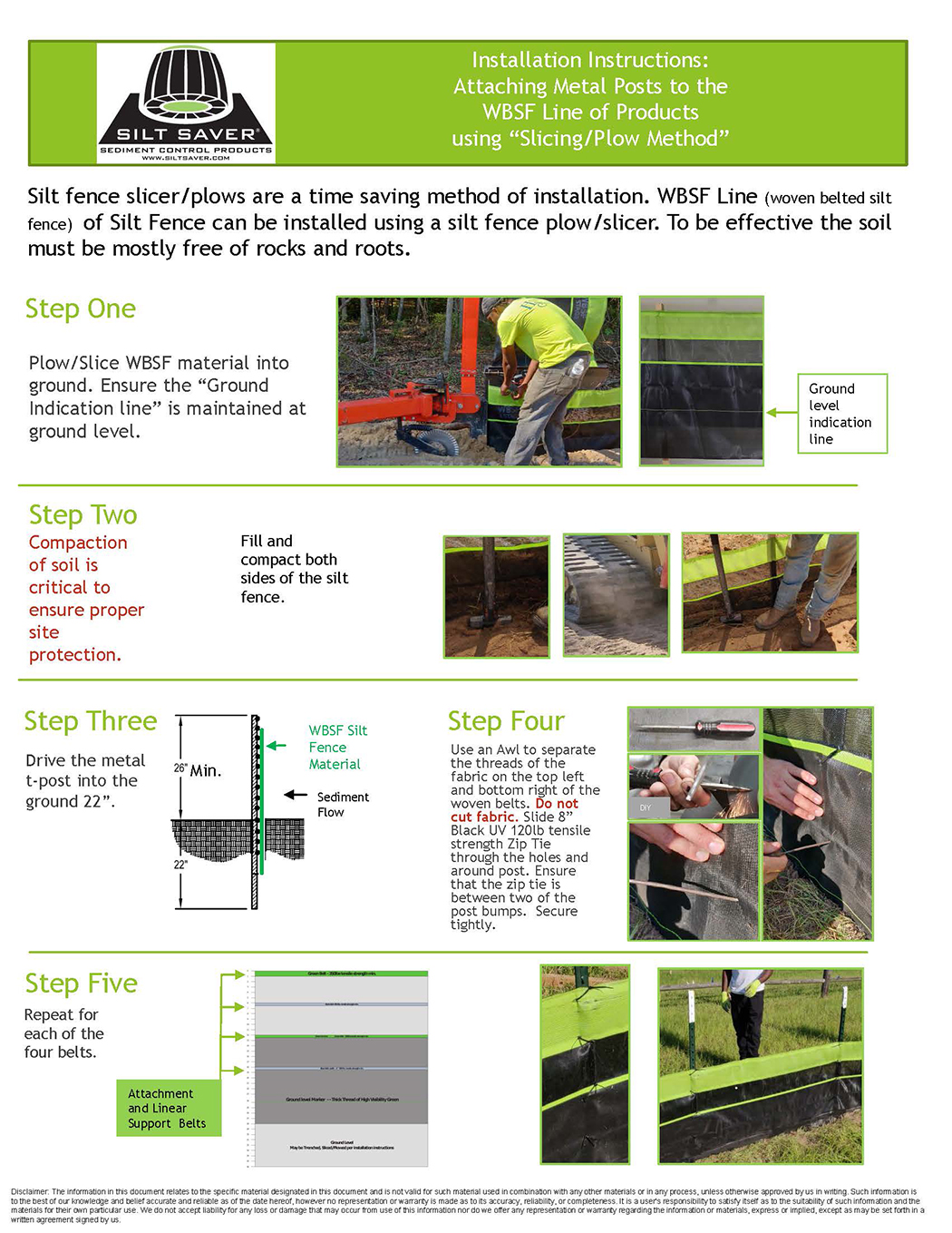 HOW TO INSTALL WBSF line of Products to Metal Posts using silt fence plow kp080320