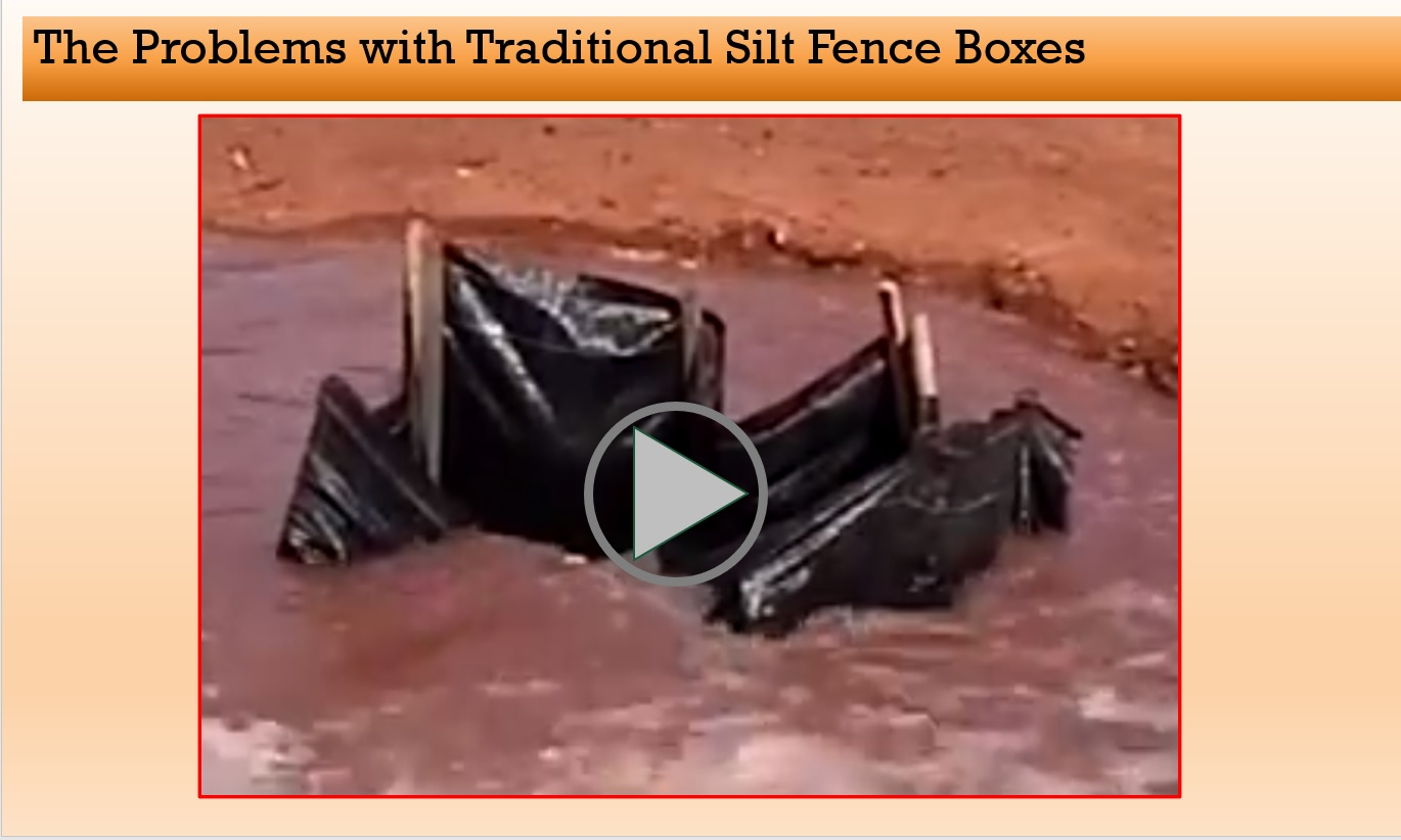 Example of a traditional silt fence box failing as inlet protection