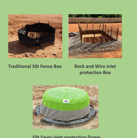 Silt Fence Box, Rock & Wire, Inlet Protection Dome