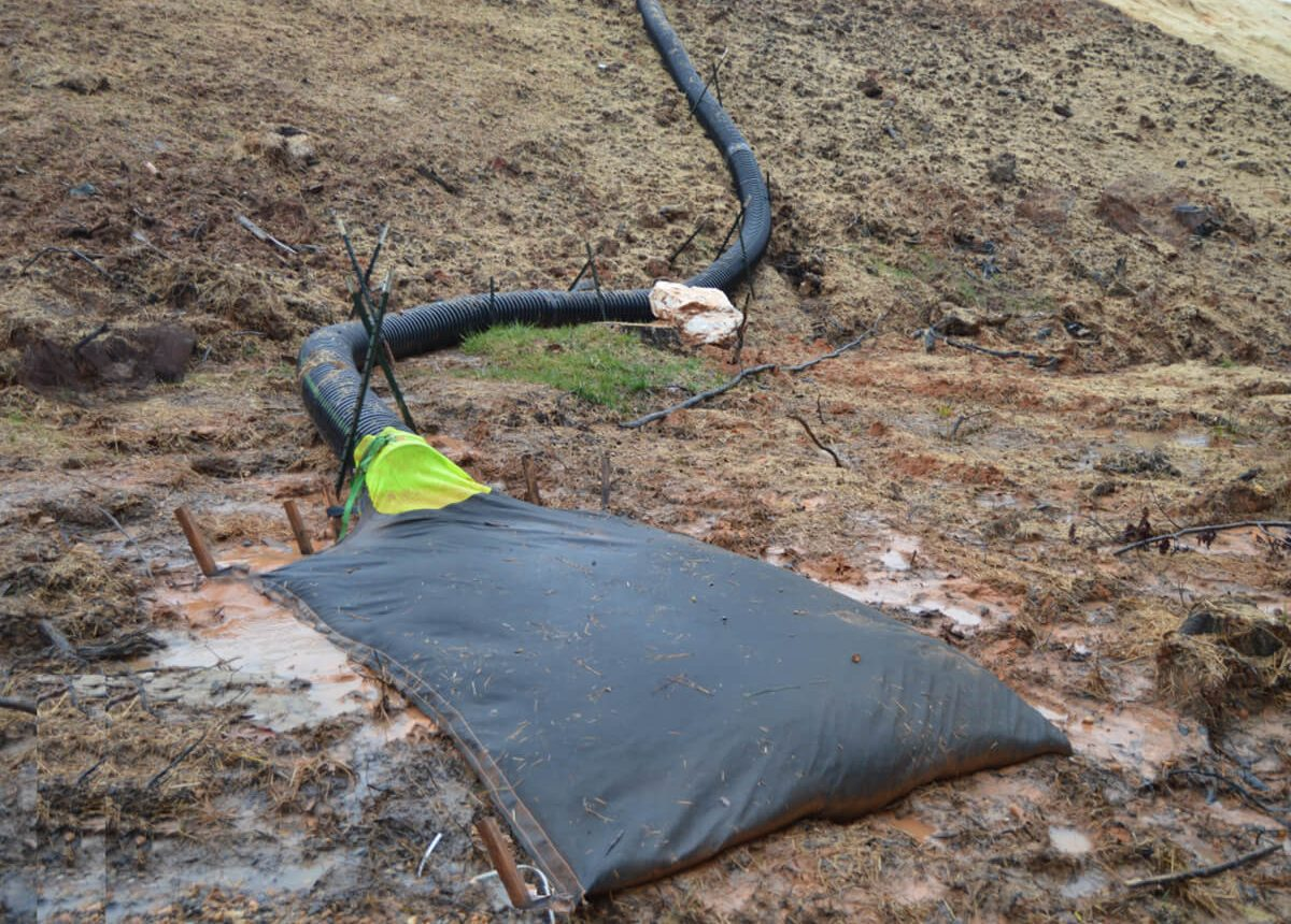 Down Slope Drain Bag DSDB with added bottom stake