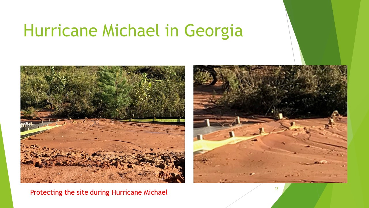 Hurricane Michael two rows of silt fence filled to the top standing straight