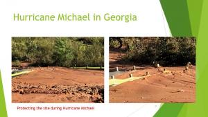 Hurricane-Michael-two-rows-of-silt-fence-filled-to-the-top-standing-straight